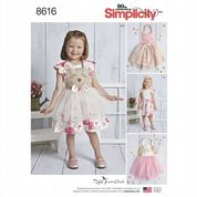 8616 Simplicity Pattern: Toddlers' Dress, Bloomers and Tutu Apron